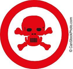 illustration, vecteur, avertissement, crâne, signe, symbole.