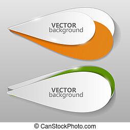 illustration, vecteur, collection, gabarit, origami, bannières