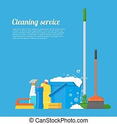 illustration., vecteur, compagnie, outils, nettoyage, service, conception, maison, style, plat, concept, affiche