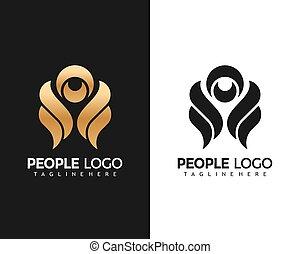 illustration, vecteur, conception, mode, gens, logo, gabarit, créatif