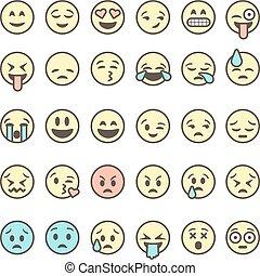 illustration., vecteur, emoticons, fond, isolé, blanc, coloré, ensemble, contour, emoji