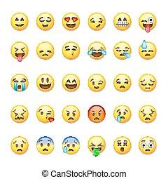 illustration., vecteur, emoticons, fond, isolé, blanc, ensemble, emoji