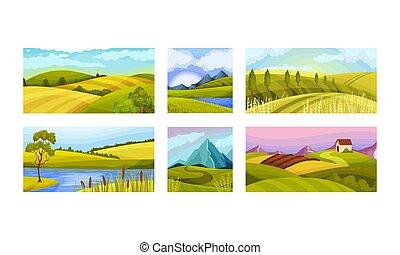 illustration, vecteur, ensemble, ciel, collines vertes, clair, paysages