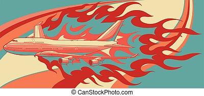 illustration, vecteur, flammes, avion, civil