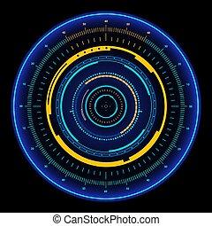 illustration., vecteur, futuriste, sci, utilisateur, hud., interface, fi