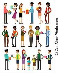 illustration, vecteur, holidays., présente., ensemble, gens