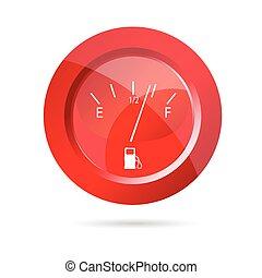 illustration, vecteur, jauge, carburant, rouges, icône