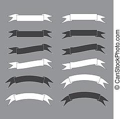 illustration, vecteur, noir, blanc, bannière, ruban