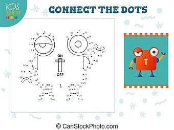 illustration., vecteur, relier, points, jeu, gosses