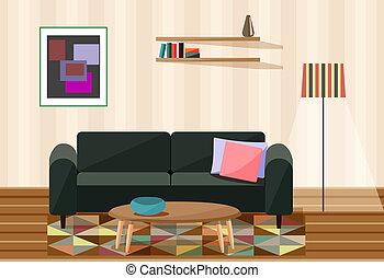 illustration, vecteur, salle de séjour