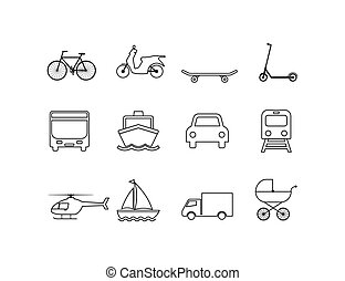 illustration, vecteur, transport, plat, set., icônes, design.