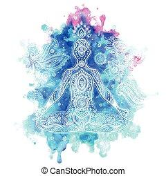 illustration, vecteur, vendange, méditation, pose