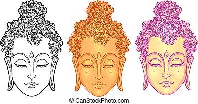 illustration., vecteur, white., spiritualité, art., tatouage, figure, isolé, vendange, indien, bouddha, thaï, ésotérique, zen, yoga, dieu, spirituel, bouddhisme, hippie