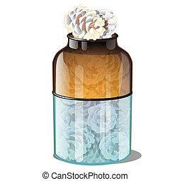 illustration., verre, année, pot, isolé, pin, givre, vecteur, noël., arrière-plan., réaliste, couvert, nouveau, blanc, attributes, style., cônes