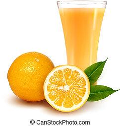 illustration., verre, vecteur, juice., orange, frais