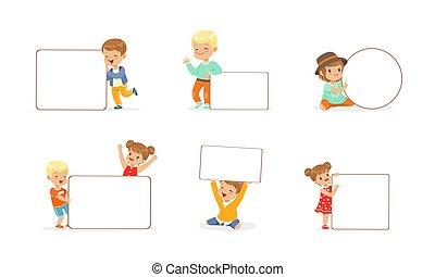 illustration, vide, vecteur, tenue, filles, vide, bannières, peu, garçons, gosses, ensemble, whiteboards, mignon, dessin animé