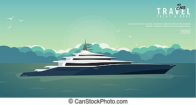 illustration., voile, banner., club, yacht, travel., vecteur, mer, sport