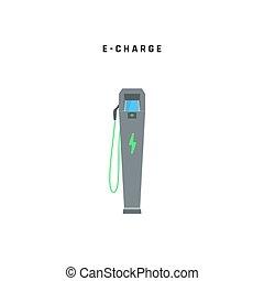illustration, voiture., charger, isolé, station, arrière-plan vert, concept., ou, vecteur, électrique, blanc, eco, énergie, e-charge.