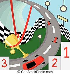 illustration, voiture, prix, piste, voiture, course, courses