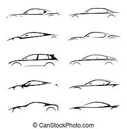 illustration., voiture, silhouette, supercar, véhicule, sports, collection, vecteur, set., moteur, concept, sedan