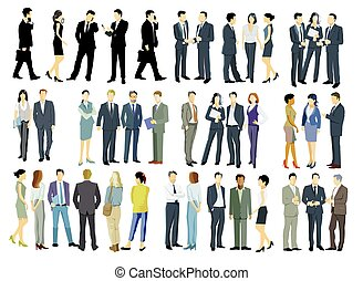 illustration.eps, ensemble, grand groupe, stand, gens