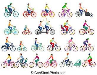 illustration.eps, grand, cyclistes, ensemble, isolé, groupe, vecteur
