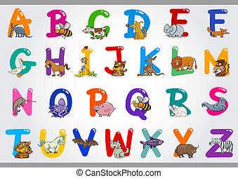 illustrations, alphabet, animaux, dessin animé