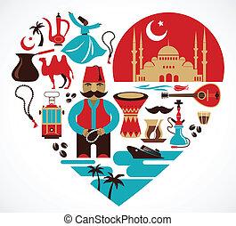 illustrations, coeur, ensemble, turkey-, vecteur