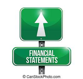 illustrations, financier, déclarations, panneaux signalisations
