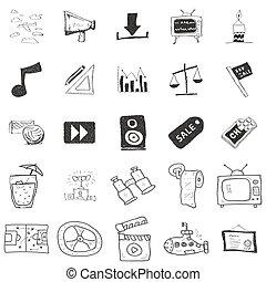 illustrations, griffonnage, ensemble, 25