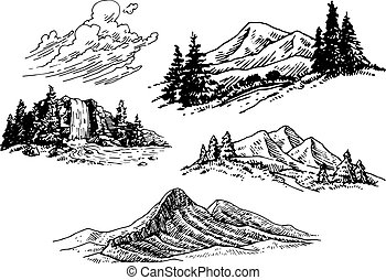 illustrations, hand-drawn, montagne