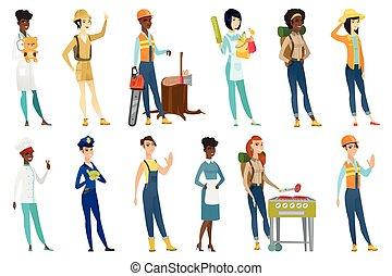 illustrations, professionnel, set., vecteur, femmes
