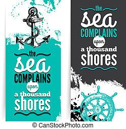 illustrations., typographique, grunge, voyage, textured, mer, banners., ensemble, nautique, croquis, conception, main, dessiné, design.
