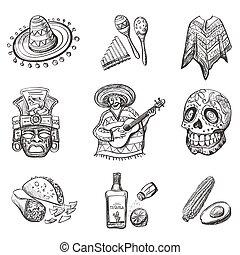 illustrations, vecteur, ensemble, mexique