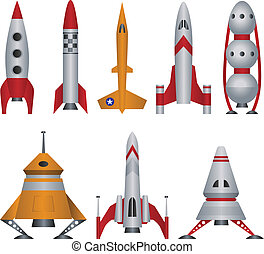 illustrations, vecteur, vaisseau spatial