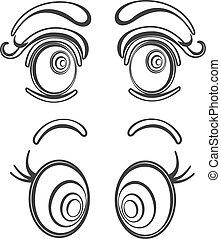 illustrations, yeux, dessin animé, collection