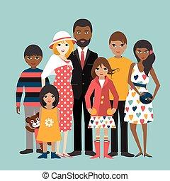 ilustration, famille, race mélangée, 5, vector., children., dessin animé