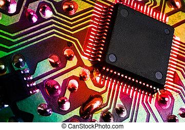 image, électronique, détail, fond, microprocesseur