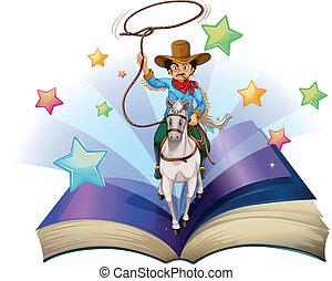 image, équitation, livre, cheval, cow-boy, ouvert