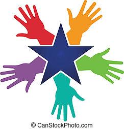 image, étoile, autour de, mains