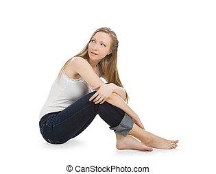 image, adolescent, plancher, séance, insouciant, clair, girl, heureux