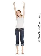 image, adolescent, sur, jean, insouciant, clair, girl, blanc, heureux