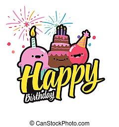 image, anniversaire, vecteur, fond, gâteau, feud'artifice, heureux