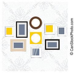 image, art, photo, wall., cadres, vecteur, vendange, eps10, galerie
