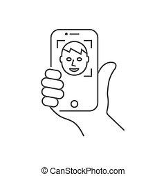image, autoportrait, illustration., vertical, 10, ou, editable, eps, main, vecteur, position., stroke., tenue, figure, smartphone, recognition.