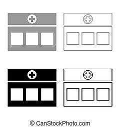 image, bâtiment, plat, contour, clinique, monde médical, hôpital, ensemble, gris, couleur, illustration, noir, style, vecteur, icône