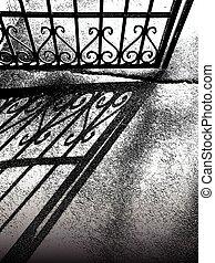 image, barrière, textured, ombre, vendange, vecteur, asphalte, trottoir