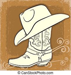 image, botte, vecteur, cow-boy, vendange, hat.