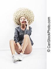 image, coiffure, mannequin, excentrique, tressé, vogue., inspiration.