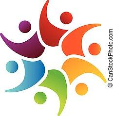 image, collaboration, 6, logo, cercle, heureux
